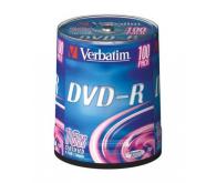 Диск DVD+R Verbatim 4,7Gb 16x Cake 100 pcs