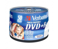 Диск DVD+R Verbatim 4.7Gb 16x  Cake 50 Printable