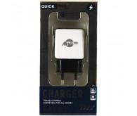 Зарядний пристрій 220В / USB, Quick Charge,  Outpt:DC 5V=2.4А, DC 9V=1.8A DC 12V=1.5A чорний