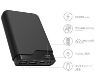 Зовнішній акумулятор ERGO LI-U4 - 10000 mAh Li-ion +TYPE-C Rubber (Black)