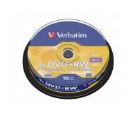 Диск DVD+RW Verbatim 4.7GB 4x, Cake 10, 43488